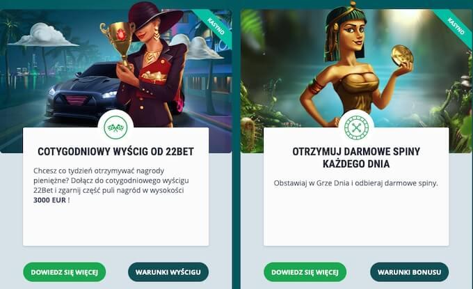 oferty dla stałych graczy w kasynie 22Bet