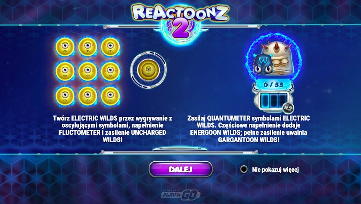 Automat Reactoonz 2 dodatkowe funkcje