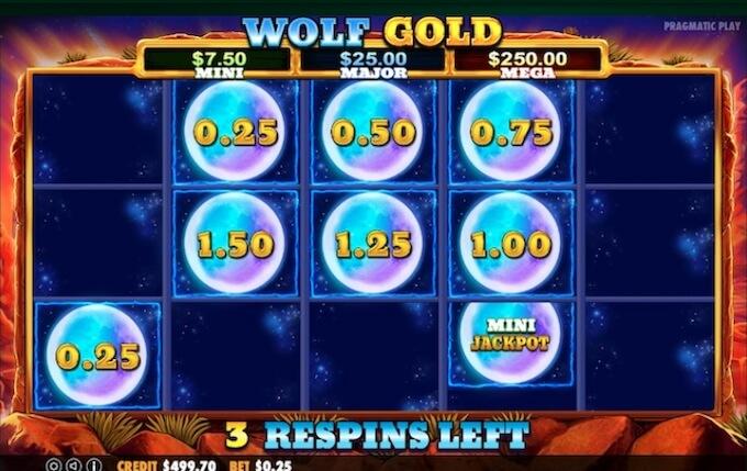 Бонусная функция в слоте Wolf Gold