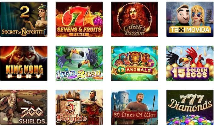 selekcja gier w slotowych w kasynie Dingo