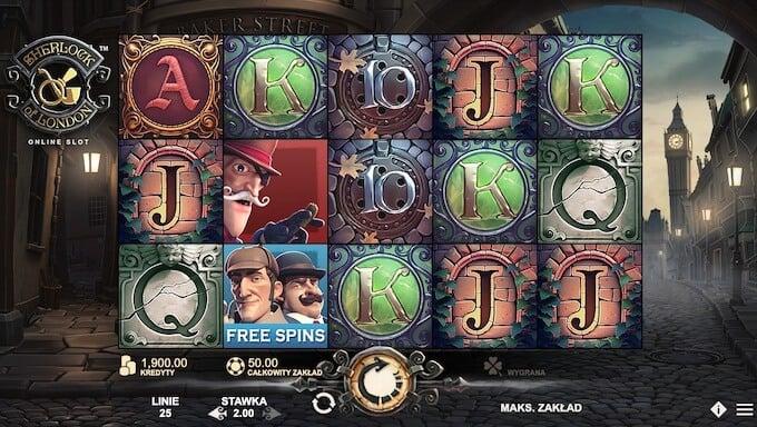 Sherlock of London funkcje slotu od Rabcat Gaming