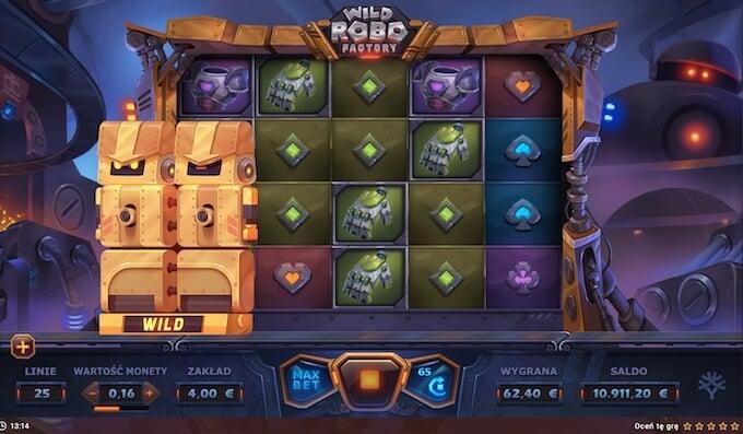 Wild Robo Factory slot Yggdrasil funkcje gry podstawowej