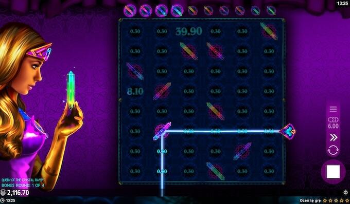 Queen of the Crystal Rays slot funkcja bonusowa