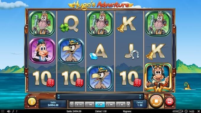 Hugo's Adventure slot symbole na bębnach