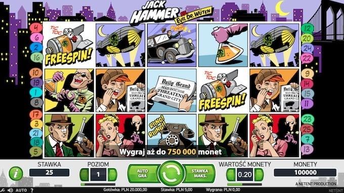 Jack Hammer slot NetEnt symbole