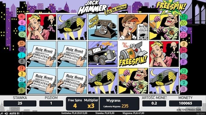 Jack Hammer slot NetEnt darmowe spiny
