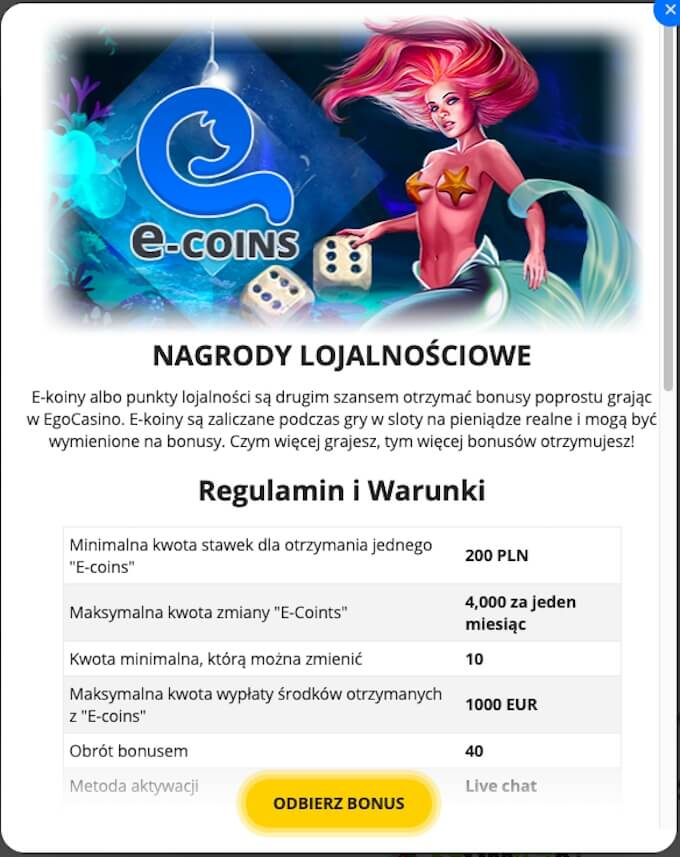 program VIP w kasynie Ego