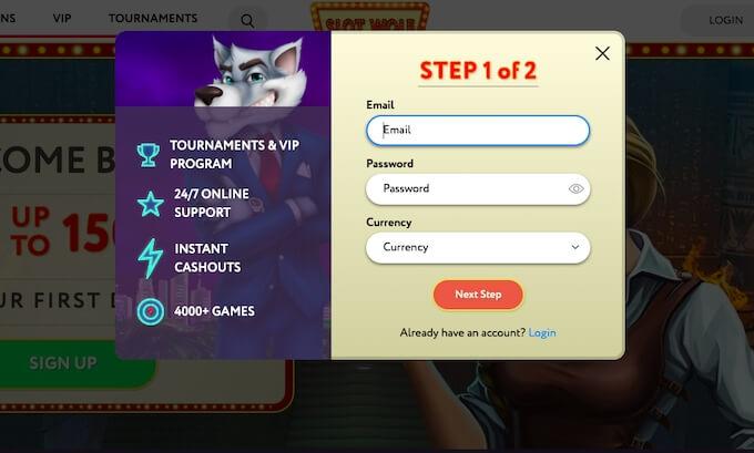 Rejestracja w kasynie Slot Wolf